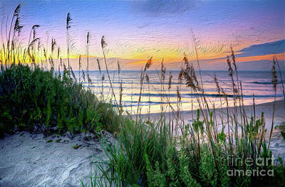 Painting - Sand Dune Sunrise On The Outer Banks Ap by Dan Carmichael