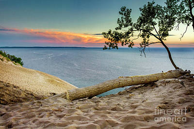 Photograph - Sand Dune Sunset Over Lake Michigan I by Karen Jorstad