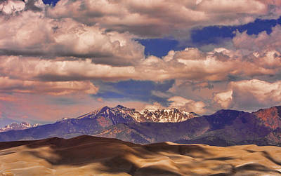 Sand Dunes - Mountains - Snow- Clouds And Shadows Art Print by James BO  Insogna