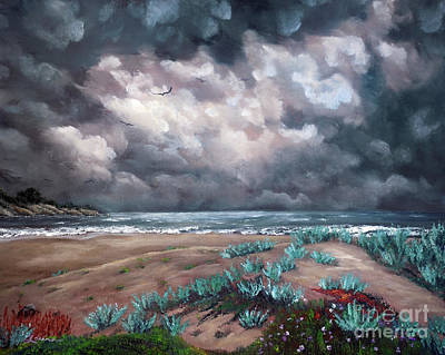 Sand Dunes Under Darkening Skies Art Print
