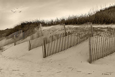 Sand Fences - Sepia Art Print by Brian Wallace