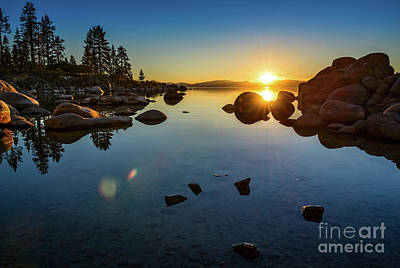 Rock Wall Art - Photograph - Sand Harbor Sunset by Jamie Pham