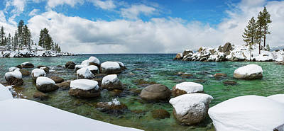 Photograph - Sand Harbor Winter Panorama By Brad Scott by Brad Scott