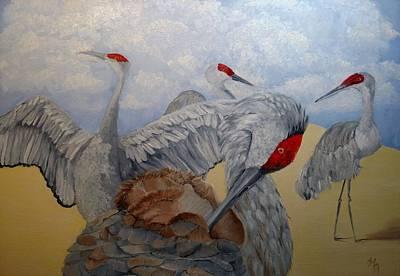 Painting - Sand Hill Crane Quartet by Joan Mansson