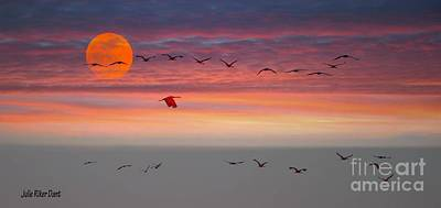 Photograph - Sand Hill Cranes At Sunset/moonrise by Julie Dant