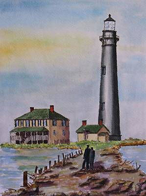 Watercolor Mobile Painting - Sand Island Lighthouse by Carol Cocking