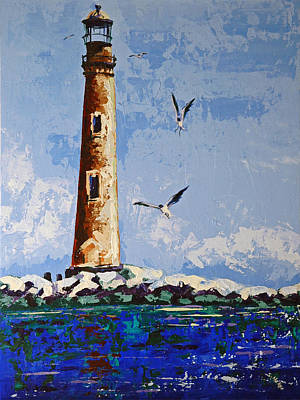 Painting - Sand Island Lighthouse by Suzanne McKee