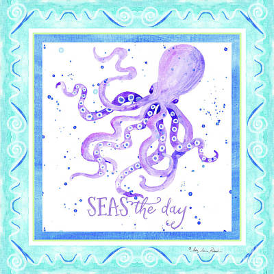 Painting - Sand 'n Sea - Octopus Seas The Day Scrollwork by Audrey Jeanne Roberts