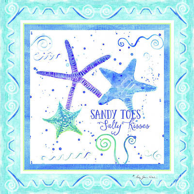 Purple Sea Stars Wall Art - Painting - Sand 'n Sea Starfish Scrollwork Sandy Toes Salty Kisses by Audrey Jeanne Roberts