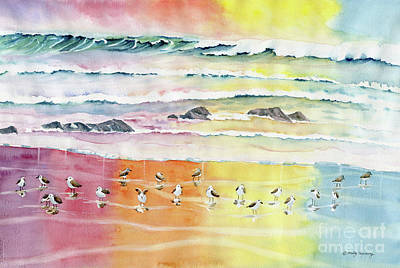 Painting - Sand Pipers On Beach by Melly Terpening