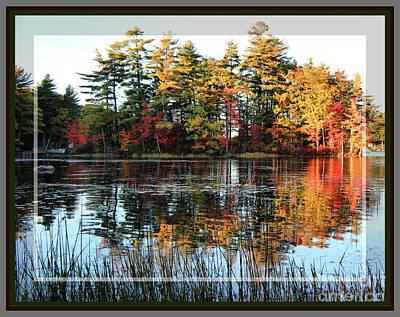 Sand Pond At Sunset In Autumn, Framed Art Print by Sandra Huston