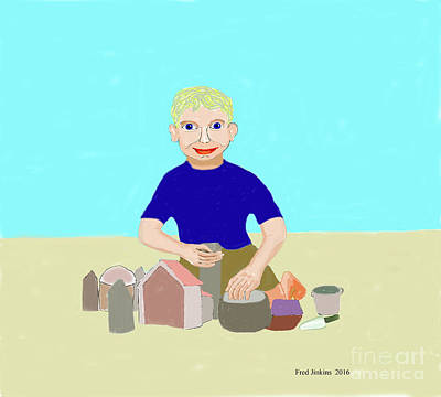 Painting - Sand Sculptor by Fred Jinkins