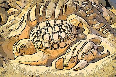 Painting - Sand Sculpture Tortoise by Jeelan Clark
