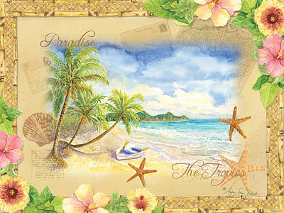 Umbrella Mixed Media - Sand Sea Sunshine On Tropical Beach Shores by Audrey Jeanne Roberts