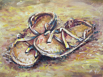 Sandals Art Print by Aaron Spong