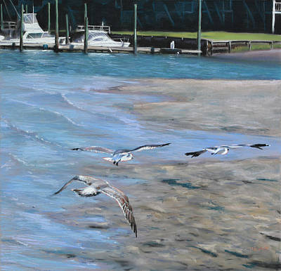 Pastel - Sandbar Skimming Seagulls by Christopher Reid