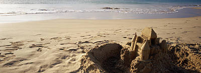 Sandcastle On The Beach, Hapuna Beach Art Print by Panoramic Images