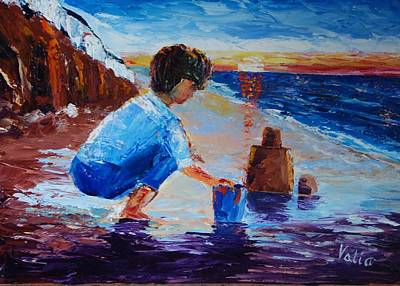 Painting - Sandcastles At Sunset by Valerie Curtiss