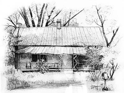 Peter Muzyka Wall Art - Drawing - Sandersville Road Farmhouse by Peter Muzyka