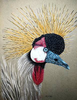 Pastel - Crowned Crane by Joan Mansson