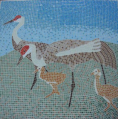 Ceramic Art - Sandhill Cranes by Deborah Baker