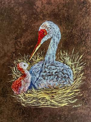 Painting - Sandhill Cranes In Nest by Anne Sands