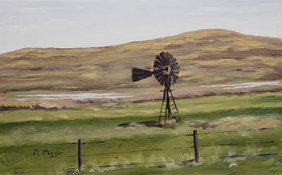 Painting - Sandhills Windmill by Alan Mager