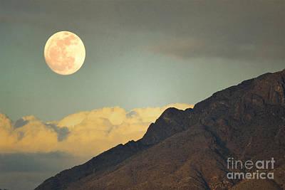 Photograph - Sandia Mountaims Rugged Full Moon Landscape by Andrea Hazel Ihlefeld