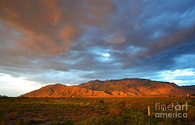 Sandia Mountains Colorful Sunset Print by Andrea Hazel Ihlefeld