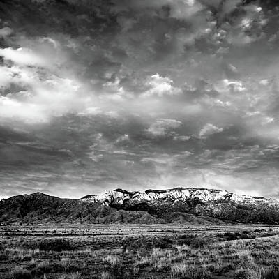 Photograph - Sandia Mountains Black and White Print by Howard Holley