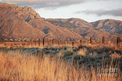 Sandia Mountains Rustic Fence Countryside Art Print by Andrea Hazel Ihlefeld