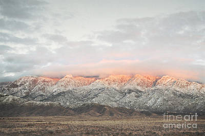 Sandia Mountains Rustic Sunset Landscape Print by Andrea Hazel Ihlefeld