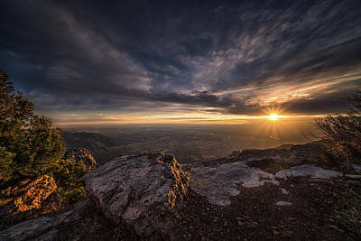 Photograph - Sandia Peak Sunset Full Rays by Framing Places