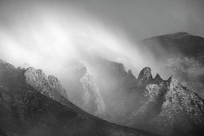 Photograph - Sandia Storm In Black And White Detail by Mary Lee Dereske