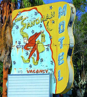 Photograph - Sandman Hotel Sign by David Lee Thompson
