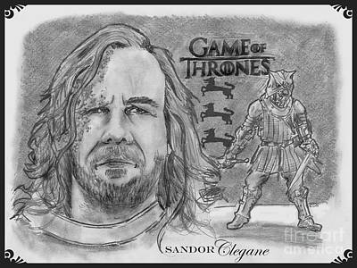 Drawing - Sandor Clegane- The Hound by Chris  DelVecchio
