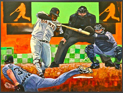 Pablo Sandoval Painting - Sandoval's First Of Two Off Verlander  by Robert Marosi Bustamante