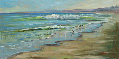 Painting - Sandpiper Shores, Plein Air by Marie Massey