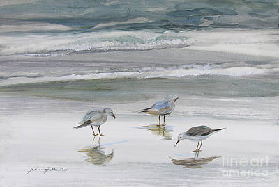 Reflective Painting - Sandpipers by Julianne Felton
