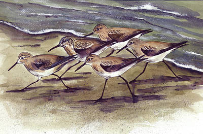 Art Print featuring the painting Sandpipers by Nancy Patterson