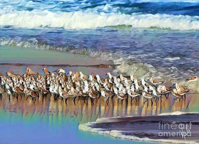 Sandpiper Digital Art - Sandpipers On The Beach  by Aline Halle-Gilbert