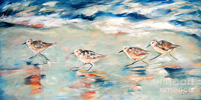 Sandpipers Running Art Print by Linda Olsen