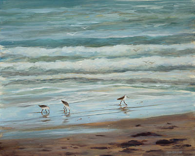 Sandpipers Vl Original by Tina Obrien