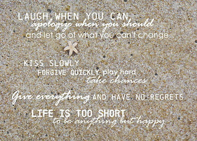 Photograph - Sands Of Happiness Quote by JAMART Photography