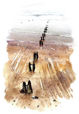 Town On The Water Drawing - Sandsend Groynes by Miki De Goodaboom