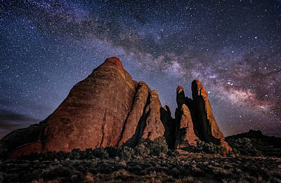 Photograph - Sandstone And Milky Way by Michael Ash