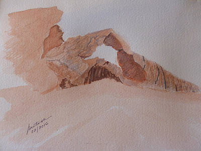 Art Print featuring the painting Sandstone Arch - Valley Of Fire  by Joel Deutsch