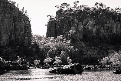 Photograph - Sandstone Cliffs In Black And White At Katherine River Gorge, Australia by Daniela Constantinescu