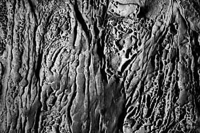 Photograph - Sandstone Erosion I Bw by David Gordon