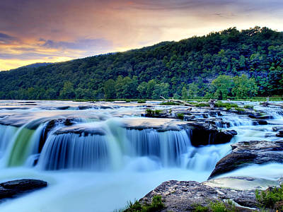 Sandstone Falls At Sunset In West Virginia   Hdr Art Print by Brendan Reals